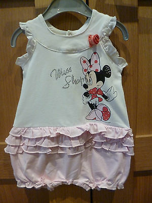 Baby girls MINNIE MOUSE pink & white frilled short romper   Sizes 3 6 & 9 MONTHS