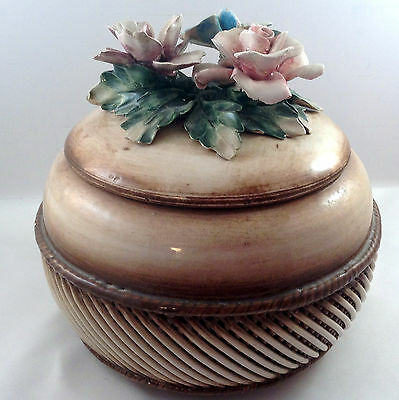 Visconti Mollica Capodimonte Cover Dish Bowl Basket Weave Raised Flowers Italy