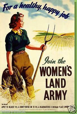 Land Girls Land Army Healthy Happy Farming 1940 Poster Reprint World War 2 6x4""