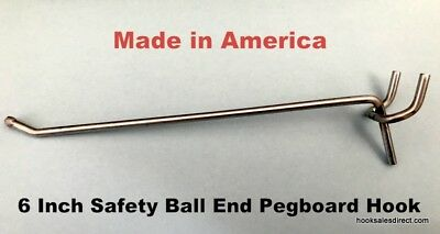 (100 PACK)  USA Made 6 Inch Metal Peg Hooks For 1/8 & 1/4 Pegboard or Slatwall