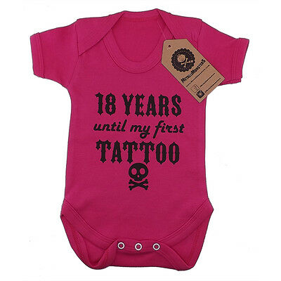 Metallimonsters first tattoo vest pink alternative goth rock metal baby clothes