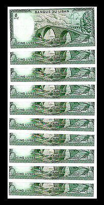Lebanon 50 Lira  10 Notes x 5 Lira  - Lot Of 10 Set Of 10  U.S.A Seller Lebanon