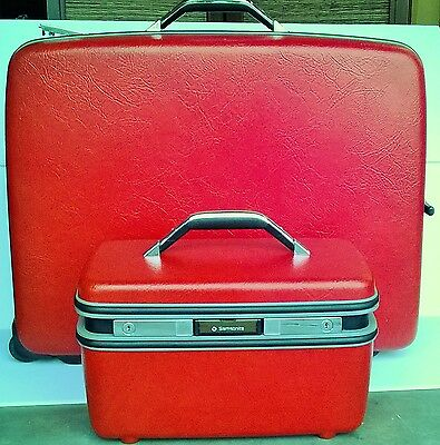2PC Vintage SAMSONITE Red Silhouette Hard Suitcase & Cosmetic Train Case Luggage