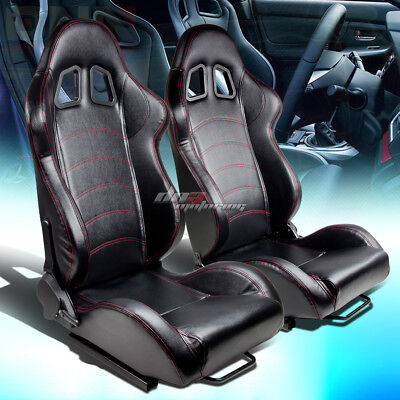 Reclinable Left+Right Pair Black Vinyl Leather Red Stitch Bucket Racing Seats