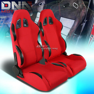 Full Reclinable Left+Right Pair Red Cloth Black Trim Bucket Racing Seats+Sliders