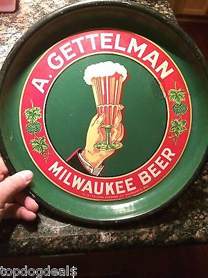 VINTAGE! 1930's A. Gettelman Milwaukee Beer Metal Advertising Tray Bar Man Cave
