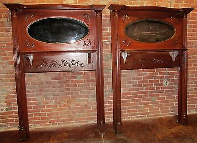 Pair Of Victorian Carved Mantles With Mirrored Galleries-Extra Rare