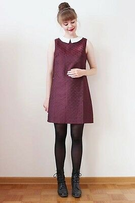 Sugarhill Boutique Sixties RetoStyle Dress in Wine Red & White Collar SH-0027