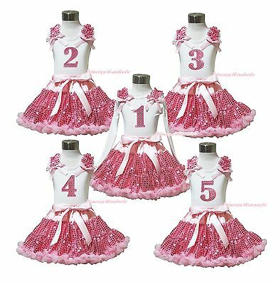 Birthday 1ST 2ND 3RD 4TH 5Th White Top Shirt Girl Bling Pink Sequin Skirt 1-8Y