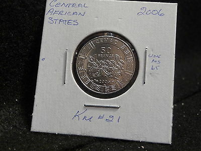 CENTRAL AFRICAN STATES: 2006   50 FRANCS   COIN  GEM  (UNC.)  (#1858)  KM # 21