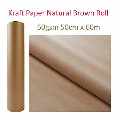 Kraft Brown Natural Paper Roll Packaging Packing Craft Wrapping 60GSM 50cm x 60M