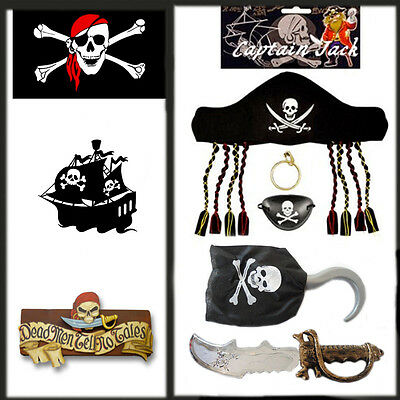 5* New Kids Pirate Set Attire Fancy Dress Costume Pirates Role Jack Sparrow Play