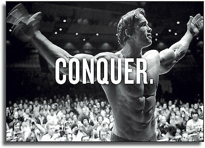 Arnold Schwarzenegger Conquer Giant CANVAS PRINT  - A0 A1 A2 A3 A4 Sizes