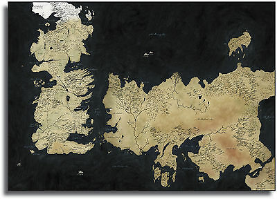 Game Of Thrones Westeros Map Framed Giant CANVAS PRINT  - A0 A1 A2 A3 A4 Sizes