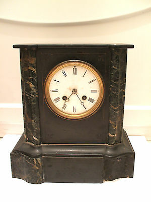 "Japy Freres Victorian French Marble  Striking Mantle Clock 11""H 10.5""W 6""D"