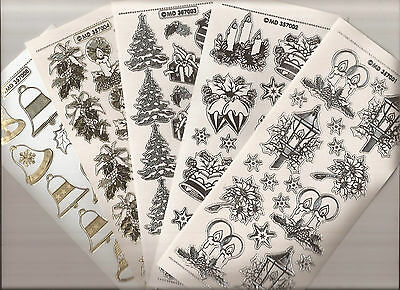 Embossed MD Peel Offs - Christmas Bells and Candles 7001/2/3/4/8