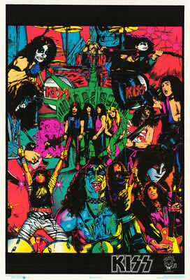 POSTER : MUSIC: KISS - COMICS - BLACKLITE/FLOCKED   -  FREE SHIP #9319F  RP64 E