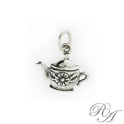 925 Sterling Silver Flower Teapot Charm Made in USA