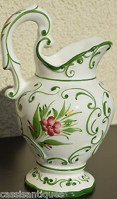 """Hand Painted PITCHER Portugal Ceramic Flowers Design White & Green 9"""""""