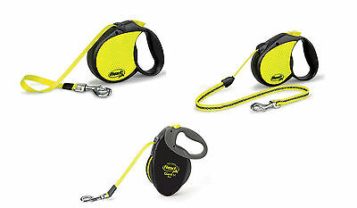 Flexi Neon Reflective Cord & Tape Retractable Dog Leads 12 to 50kgs 5 to 8 m