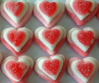 TRIPLE HEARTS 1KG PINK WHITE HEART  LOLLIES GUMMY Candy Buffet approx 208ct