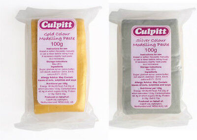CULPITT Metallic Gold, Silver & Pearl Modelling Paste Edible Sugarcraft 100g