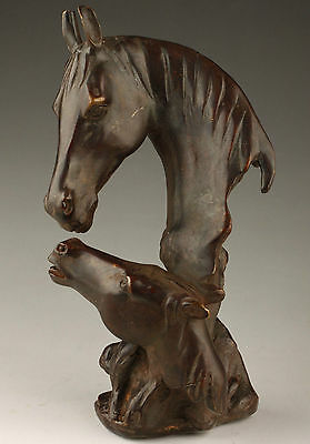 SUPERB VINTAGE HANDMADE COLLECTION OLD BRONZE STATUE UNIQUE MOTHER HORSE