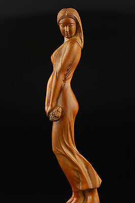 SUPERB OLD DECORATION HANDWORK 100% BOXWOOD CLASSICAL HAND-CARVED NUDE STATUES