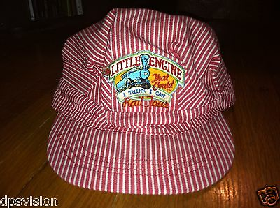 Little Engine that could I think I can Rail Tour vintage rare hat cap red stripe