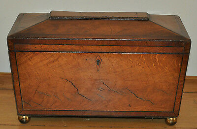 Victorian Antique Large Triple Section Tea Caddy Of Fine Quality