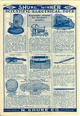 1909 ADVERT Scientific Electrical Toys Giant Engine Motor Cast Iron Cow Bell