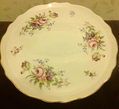 FOLEY KENT ROUND FANCY CAKE SERVING PLATE FLORAL DESIGN 10.75 INCHES ACROSS