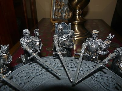 Medieval King Arthur and Knights of the Round Table Statue Sculptural Figure Set