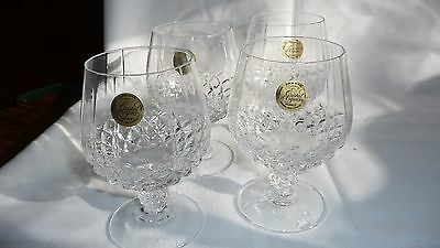 Brandy Snifters set 4 Cristal d'Arques Longchamp Glasses France with stickers