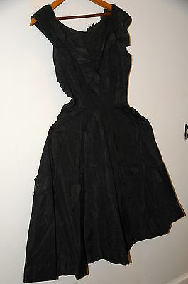Antique Black Victorian Dress -with Leaves and beautiful Detail Vintage Clothing