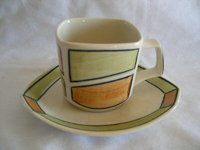 Retro Deco Orange & Green Demi Cup & Saucer By Chefo Art