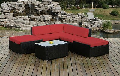 Ohana Outdoor Patio Wicker  Sectional Furniture 6pc - Red