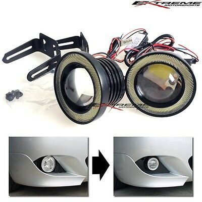 "15W High Power 3"" Projector LED Glass Fog Light Lamps w/COB Halo Angel Eye Rings"