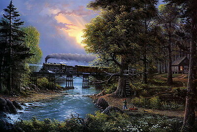 Modern Home decor oil painting Prints on canvas train through the forest 16 x 24