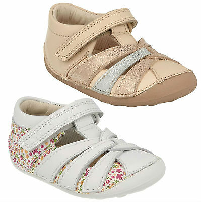 Girls Toddler Clarks Little Mae Hook & Loop Casual Summer Leather Shoes Size