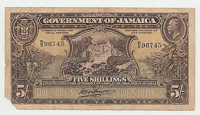 Goverment of Jamaica 5 Shillings 1904 / 1918 VERY RARE Pick 32a