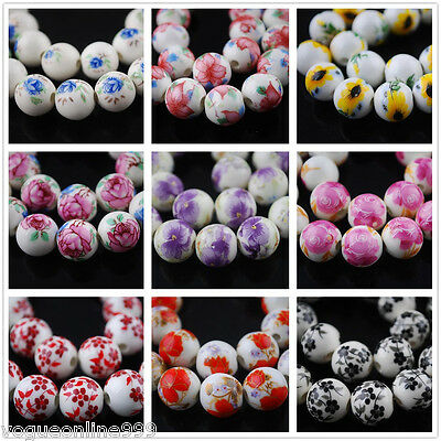 10pcs 12mm Flowers Painting Ceramic Porcelain Loose Spacer Round Ball Beads