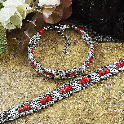 Free shipping New Tibet silver multicolor jade turquoise bead bracelet S01B