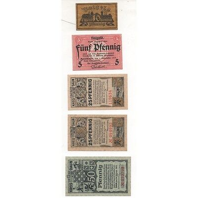 NOTGELD - DARMSTADT - 5 different notes 5 & 10 & 25 & 50 pfennig (D0