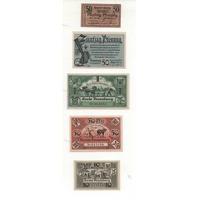 NOTGELD - DRAMBURG - 5 different notes - 10 & 50 pfennig 1 mark (D051) [D051