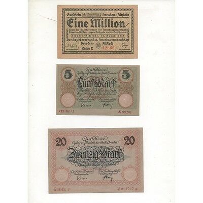 NOTGELD - DRESDEN - 3 different notes - 5 & 20 & 1,000,000 mark (D054) [