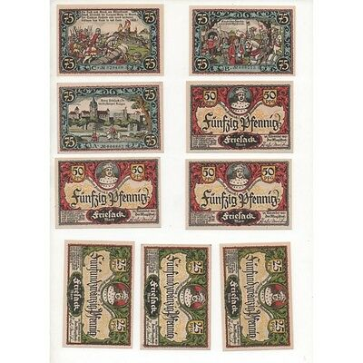 NOTGELD - FRIESACK - 9 different notes - SERIE COMPLETE (F062) -.F062 ALLEM