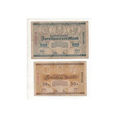 NOTGELD - FORBACH - 2 different notes - 50 & 200 mark (F072) [F072 DEUTCH.]