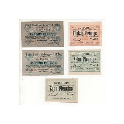 NOTGELD - HOMBURG - 5 different notes - VARIETE & CANCELED (H089) -.H089 ALL