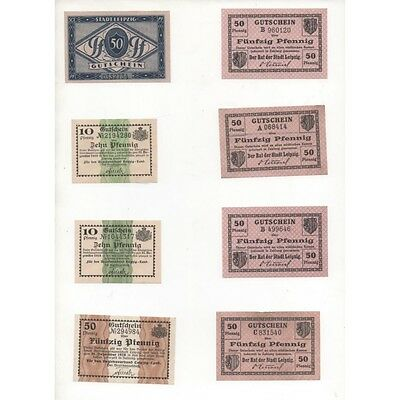 NOTGELD - LEIPZIG - 8 different notes - 1918 (L054 A) -.L054 A ALLEM